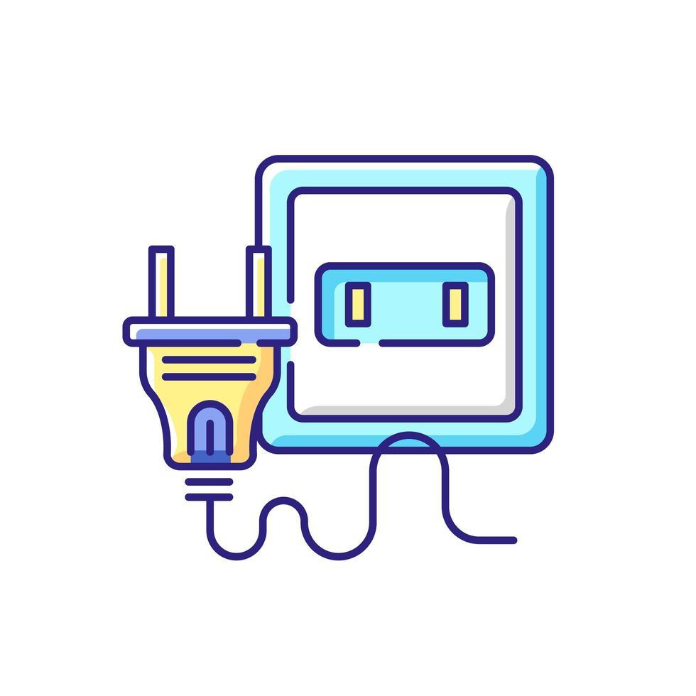 icône de couleur rgb prise électrique vecteur
