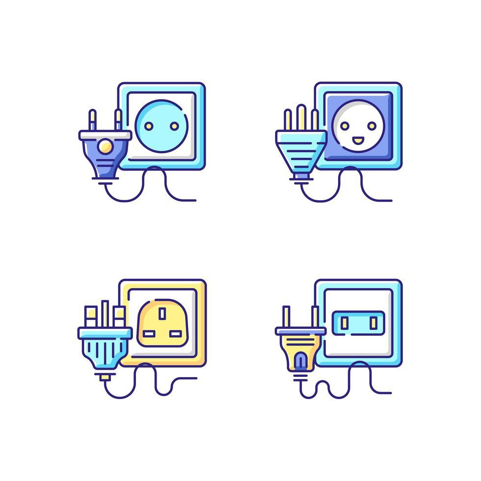 types de prises de courant ensemble d'icônes de couleur rgb vecteur