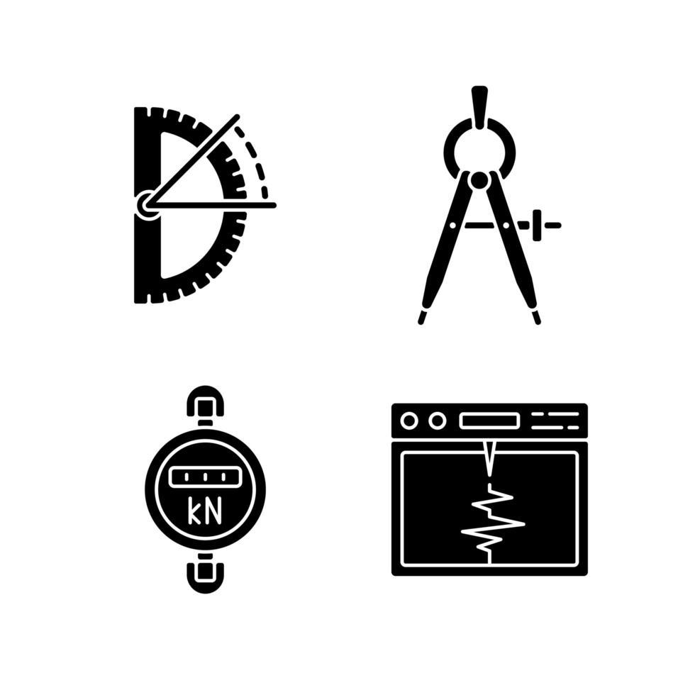 outils de mesure icônes de glyphe noir sur espace blanc vecteur