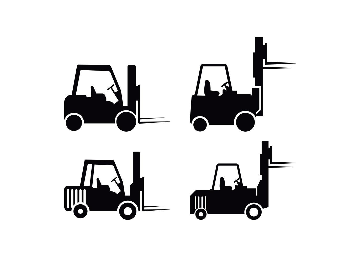 ensemble de modèles de conception icône chariot élévateur vecteur