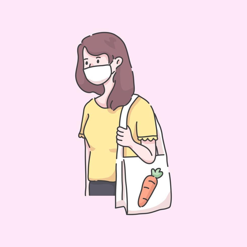homme va à l & # 39; épicerie portant une illustration de virus de masque vecteur