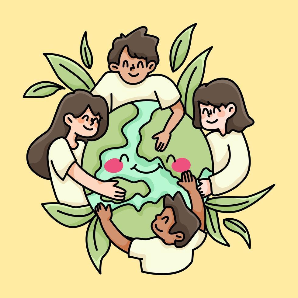 peuple uni du monde paix et amour illustration de charité vecteur