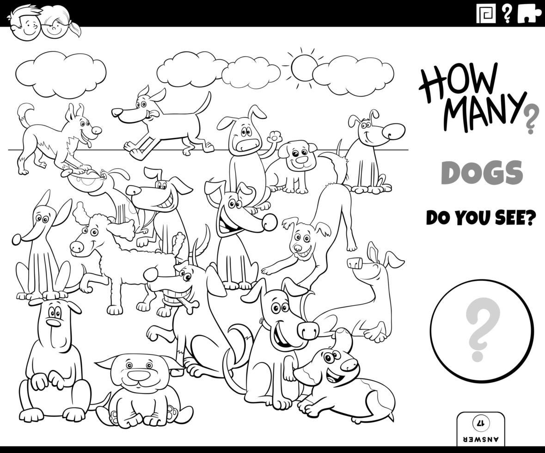 livre de couleurs de jeu éducatif de comptage de chiens vecteur