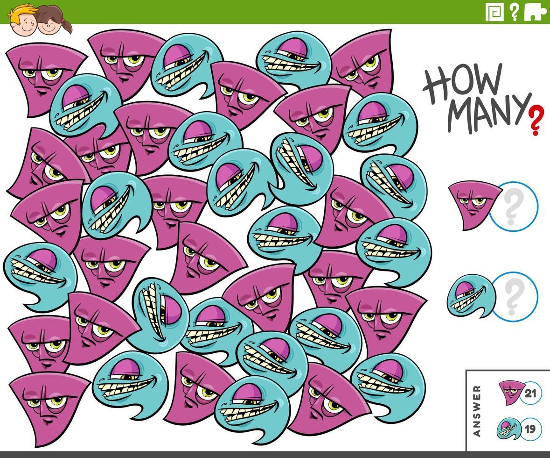 combien de tâches éducatives de personnages de monstres pour les enfants vecteur