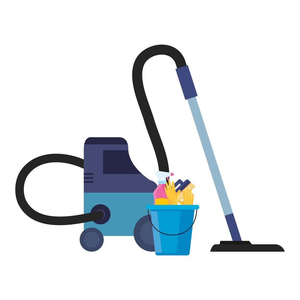 aspirateur et seau avec des outils de nettoyage, sur fond blanc vecteur