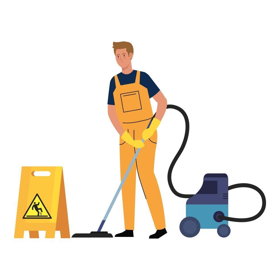 Homme travailleur du service de nettoyage avec aspirateur et signe de prudence sol mouillé, sur fond blanc vecteur