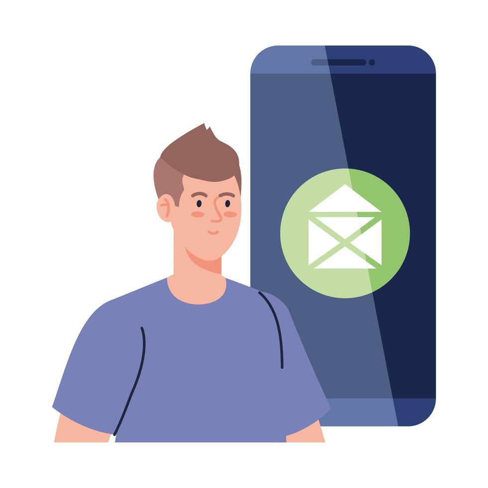 concept de médias sociaux, homme avec email enveloppe dans smartphone vecteur