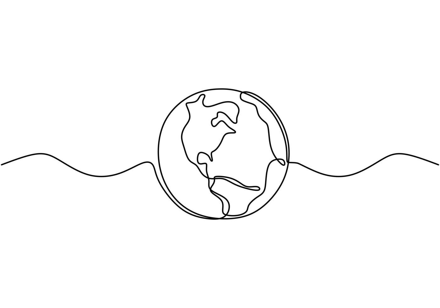 globe terrestre un dessin au trait de la carte du monde vector illustration design minimaliste du minimalisme isolé sur fond blanc.