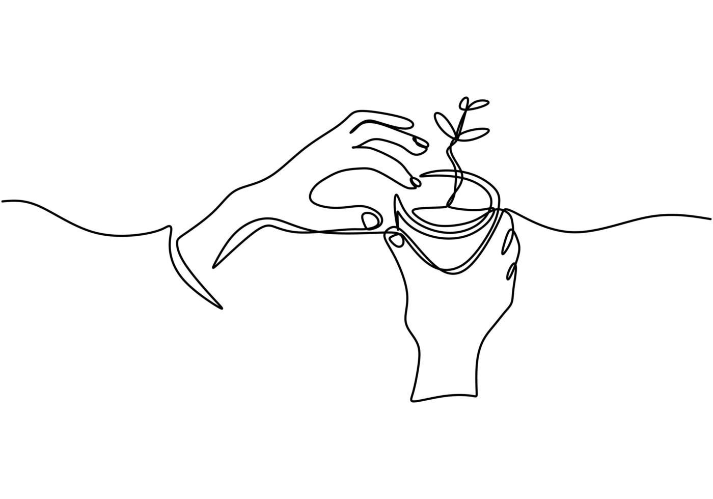 main tenant le pot de la plante. dessin continu d'une ligne du thème de retour à la nature. vecteur