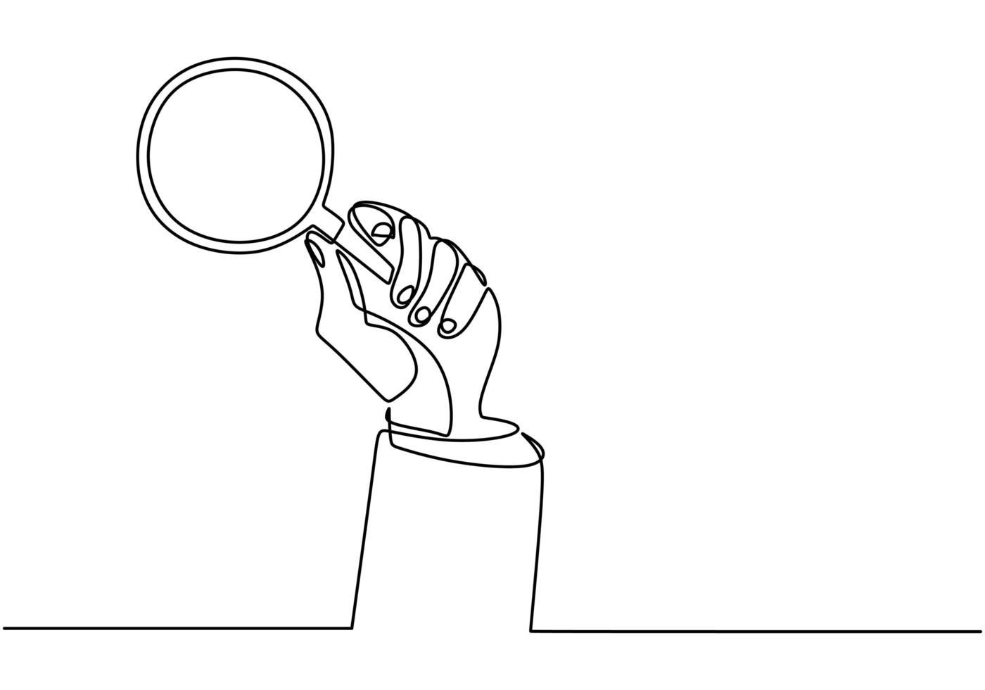 une ligne continue de main tenant une loupe. loupe pour détecter quelque chose de très petit. vecteur