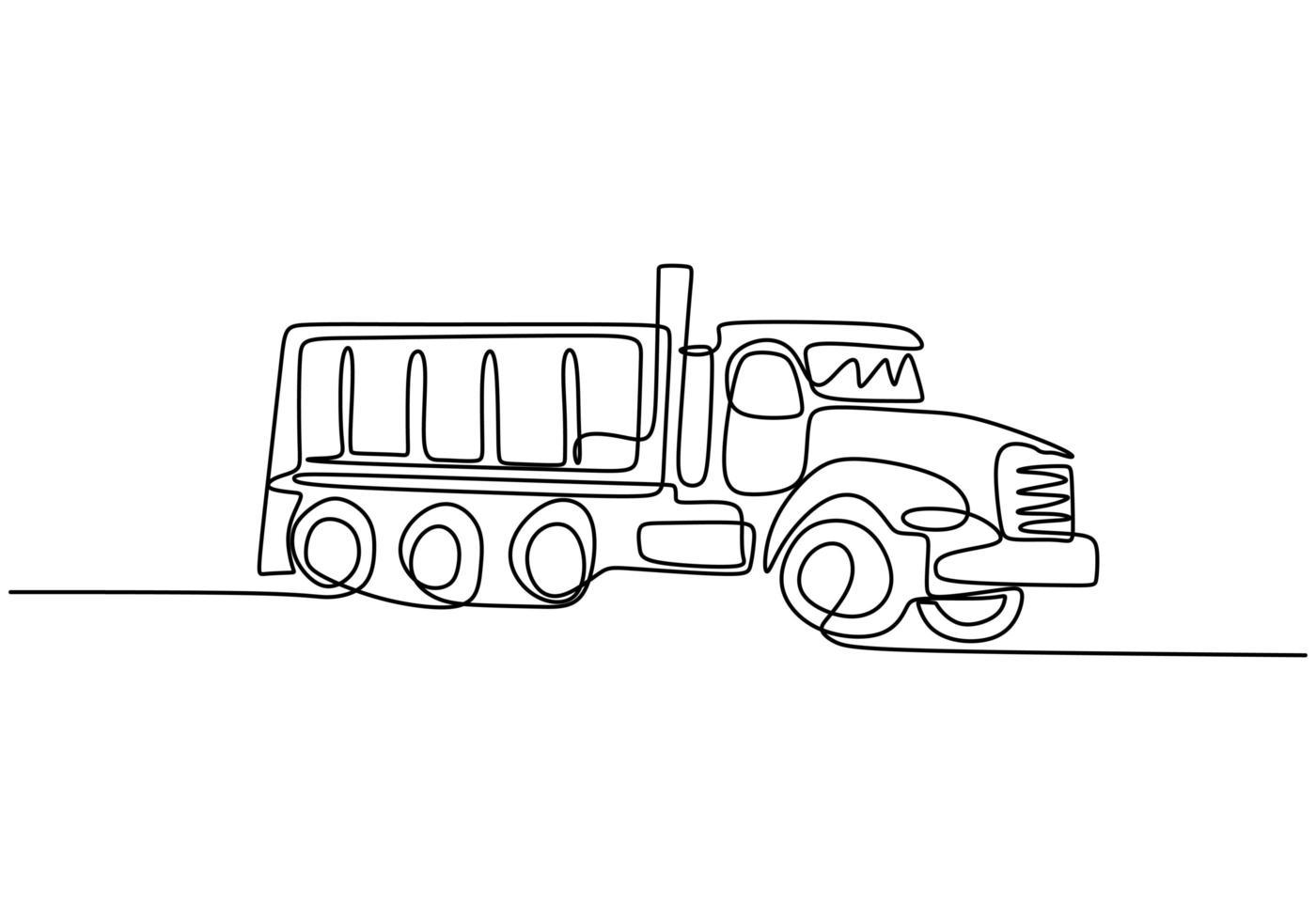 un dessin au trait d'un gros camion à benne minière pour charger du charbon et des produits miniers. vecteur