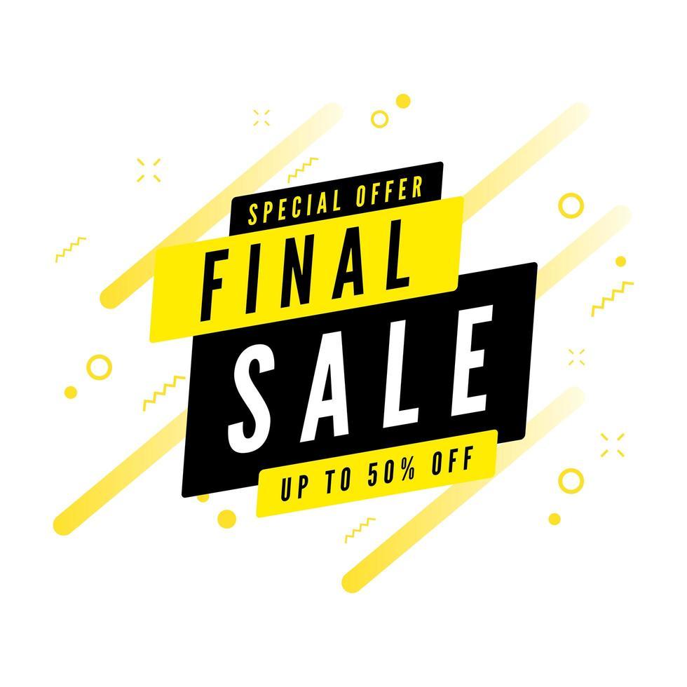 offre spéciale vente finale jusqu'à 50% de réduction sur la bannière. vecteur