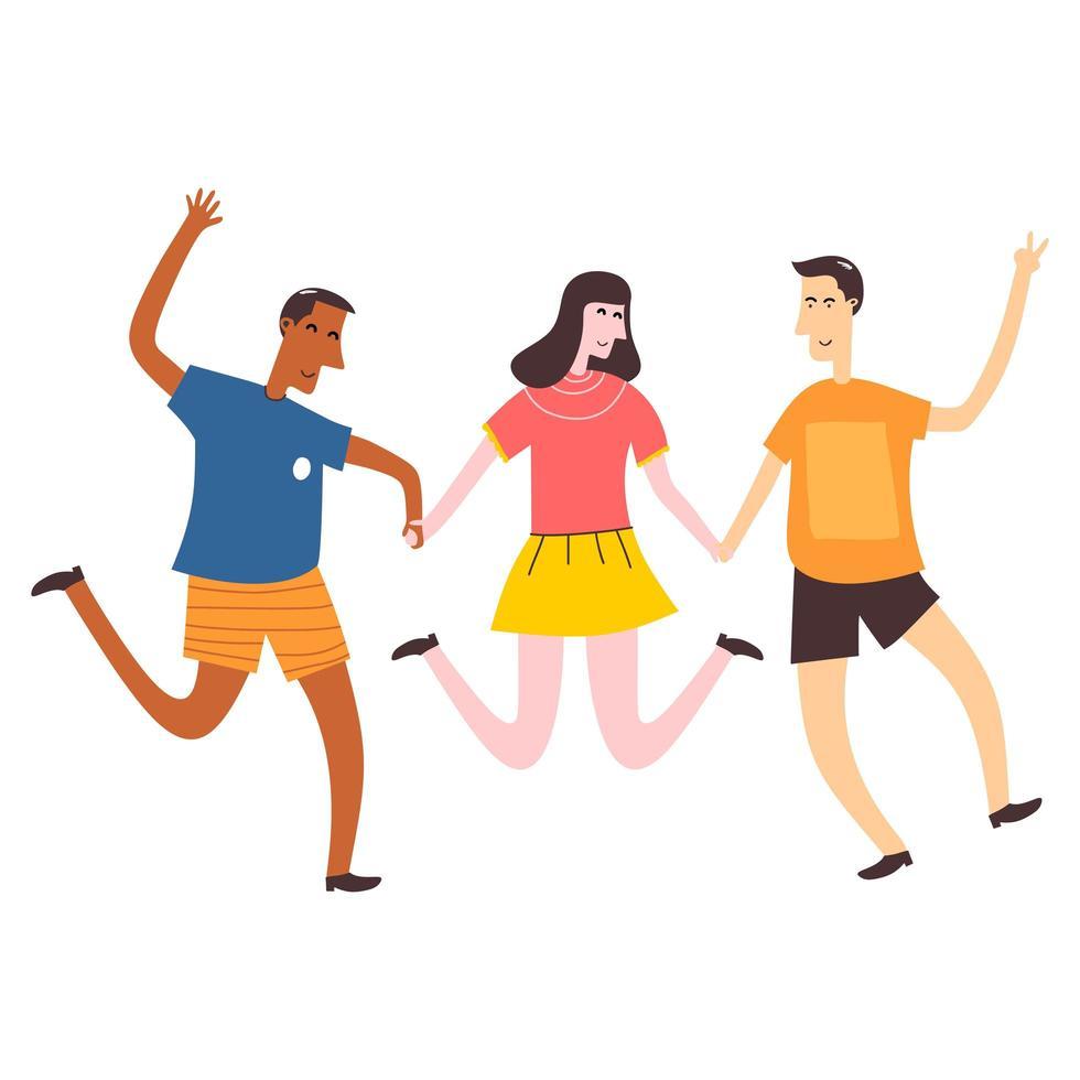 sourire adolescent deux garçons et une fille se tenant la main et sauter. amis de l'école debout ensemble. étudiants heureux isolés sur fond blanc. illustration vectorielle de dessin animé plat vecteur
