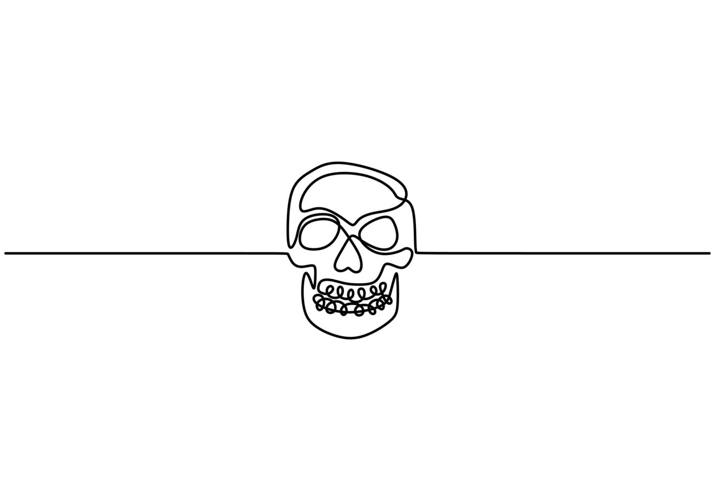 dessin de contour continu une ligne avec crâne humain. vecteur
