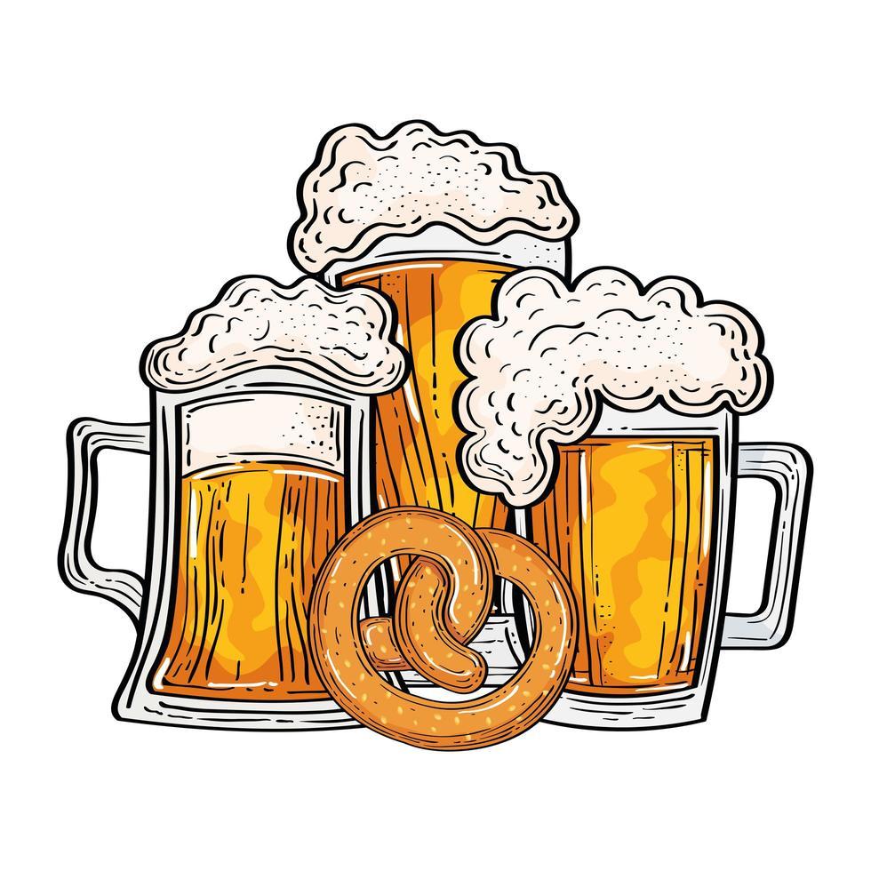 Verres à bière oktoberfest avec conception de vecteur de bretzel