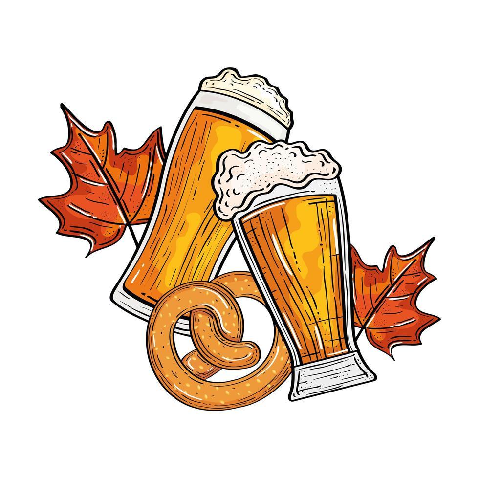 Verres à bière oktoberfest avec design vectoriel bretzel