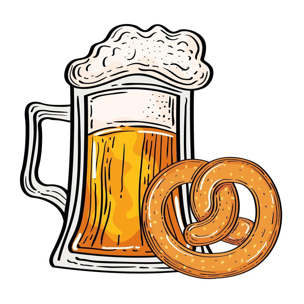 verre à bière oktoberfest avec conception de vecteur de bretzel