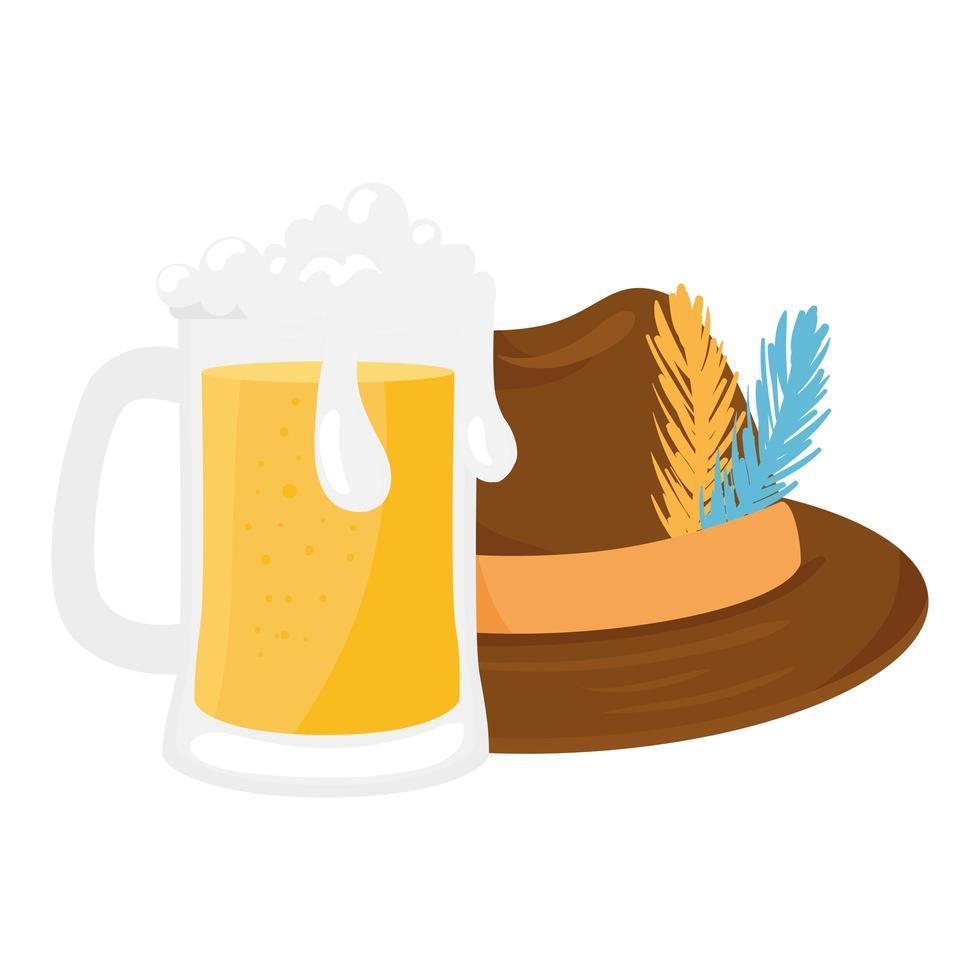 conception de vecteur de chapeau et de verre à bière oktoberfest