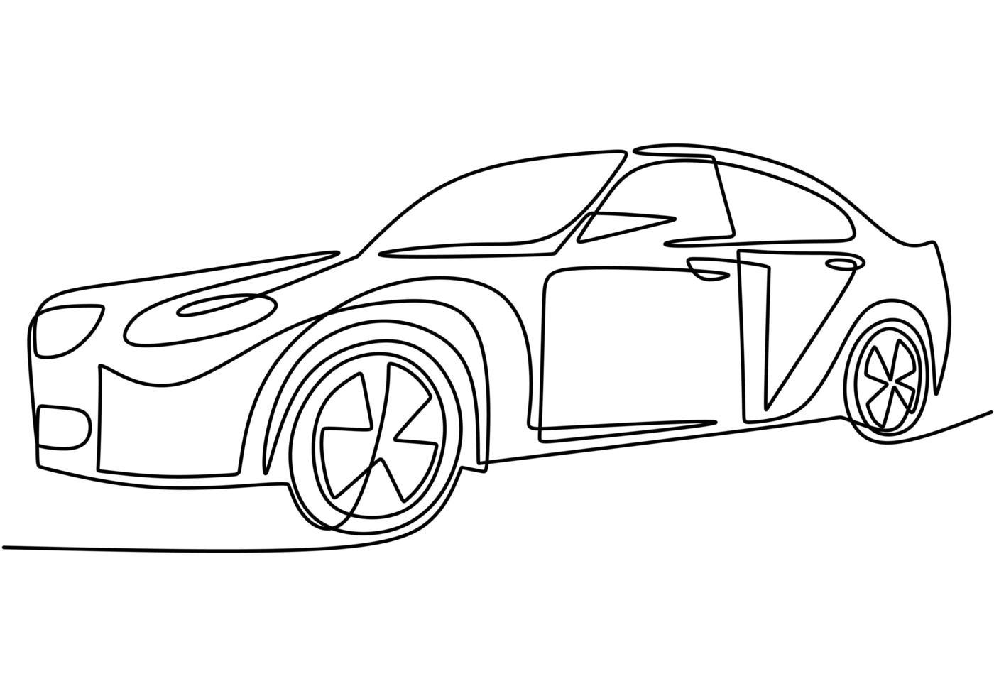 un seul dessin au trait continu d'une voiture de luxe. fermer. vecteur