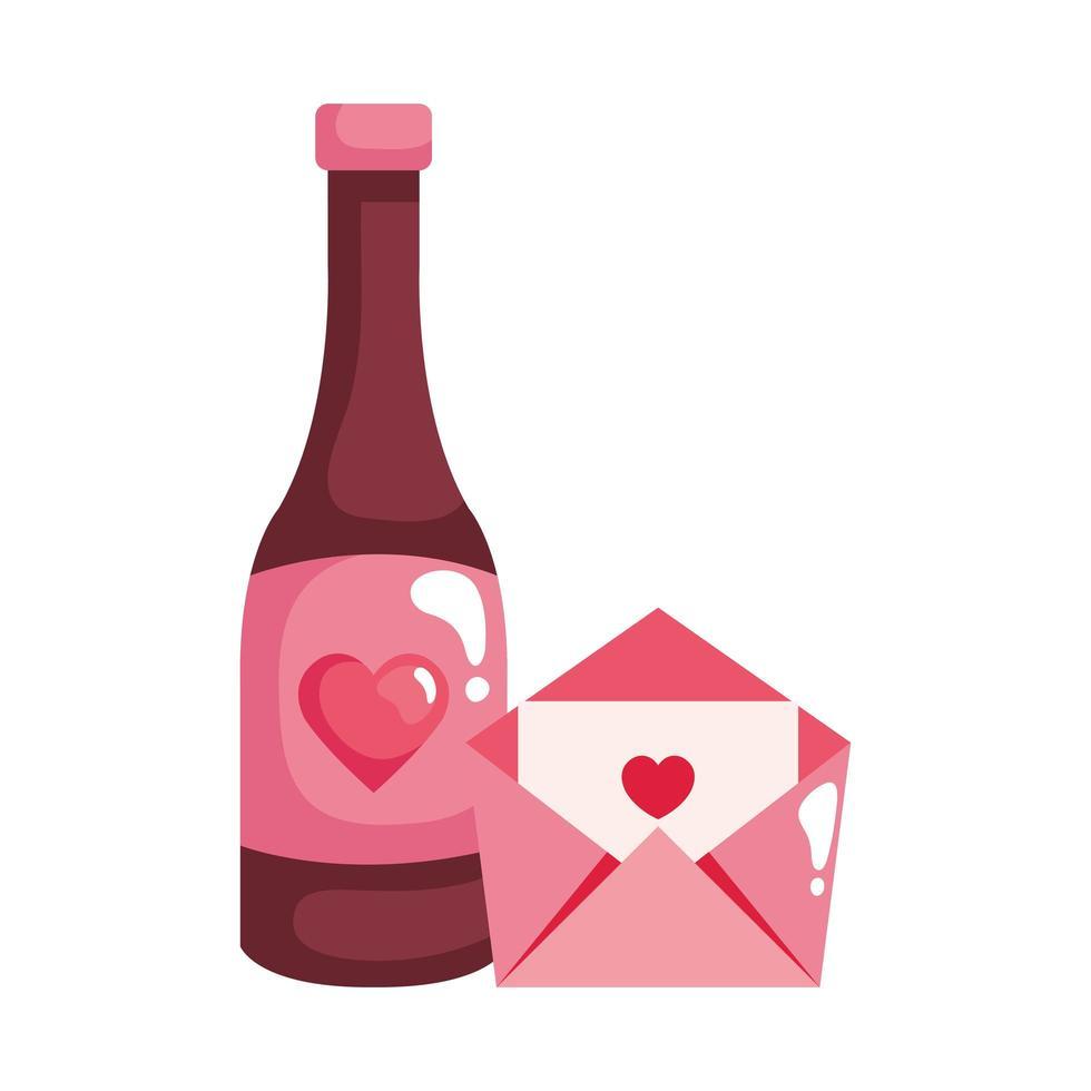 courrier enveloppe avec icône isolé de vin bouteille vecteur