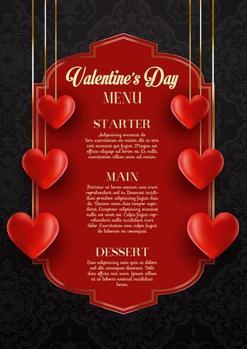 Conception du menu de la Saint-Valentin vecteur