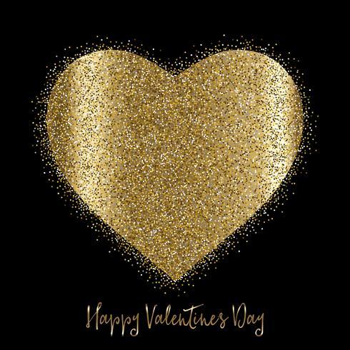Fond de Saint Valentin avec coeur pailleté d'or vecteur