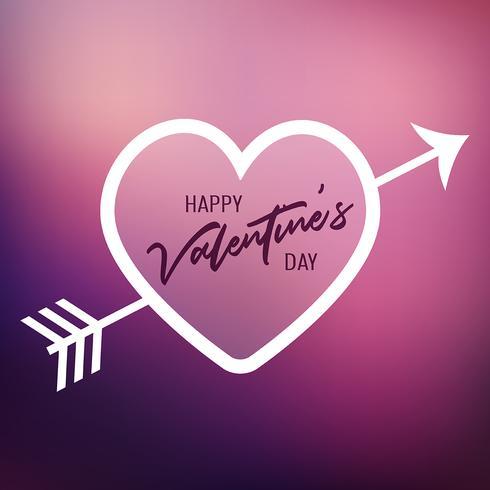 Coeur de la Saint-Valentin sur un arrière-plan flou vecteur