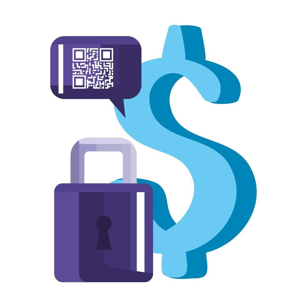 qr code bulle dollar et conception de vecteur de cadenas