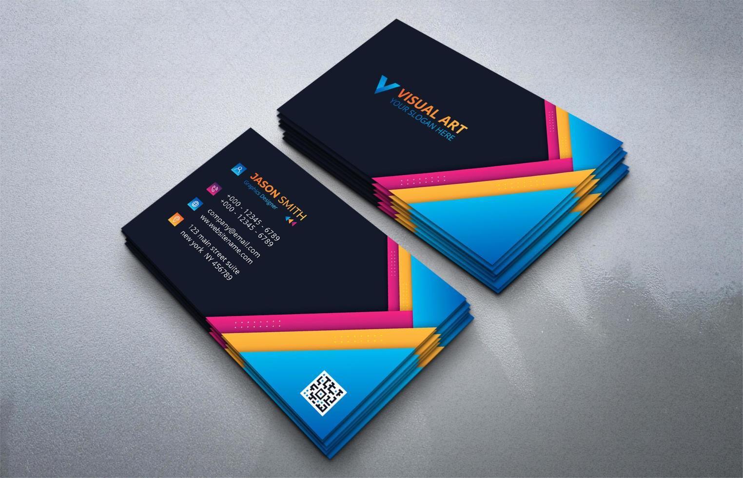 modèle de carte de visite colorée abstraite vecteur