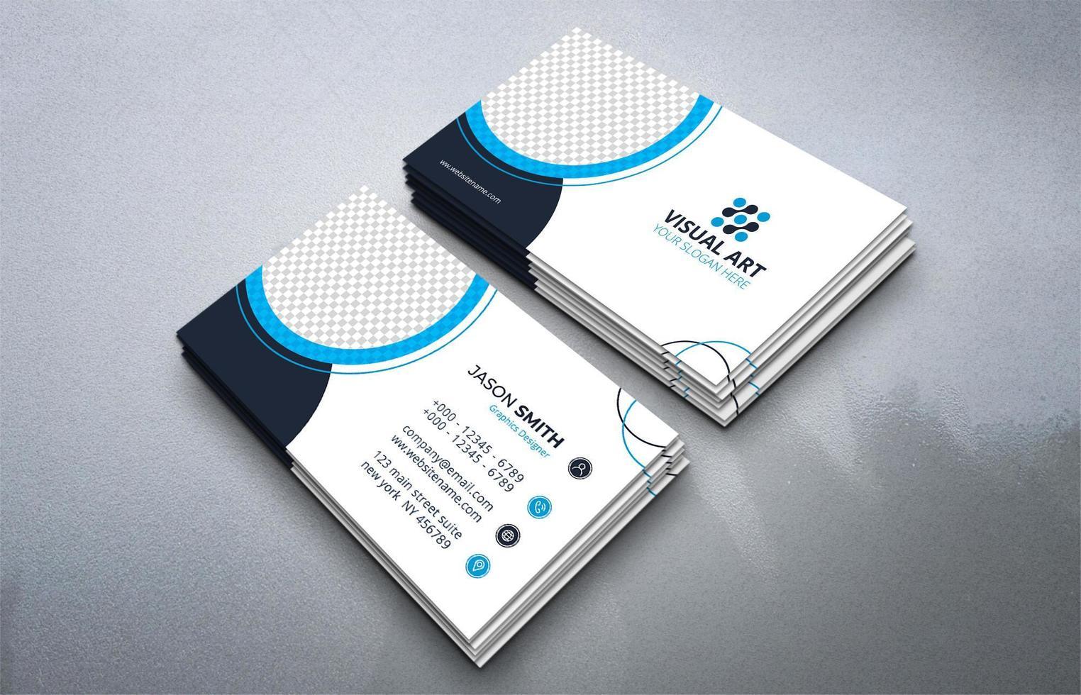 modèle de carte de visite bleu vecteur