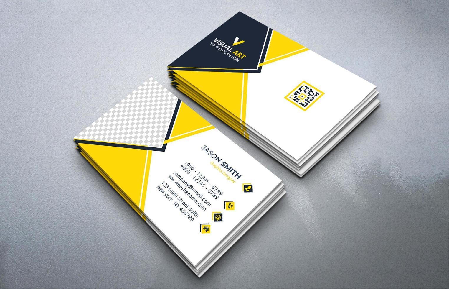 carte de visite jaune avec place pour l'image vecteur