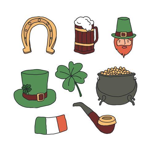 Doodles de la Saint-Patrick vecteur