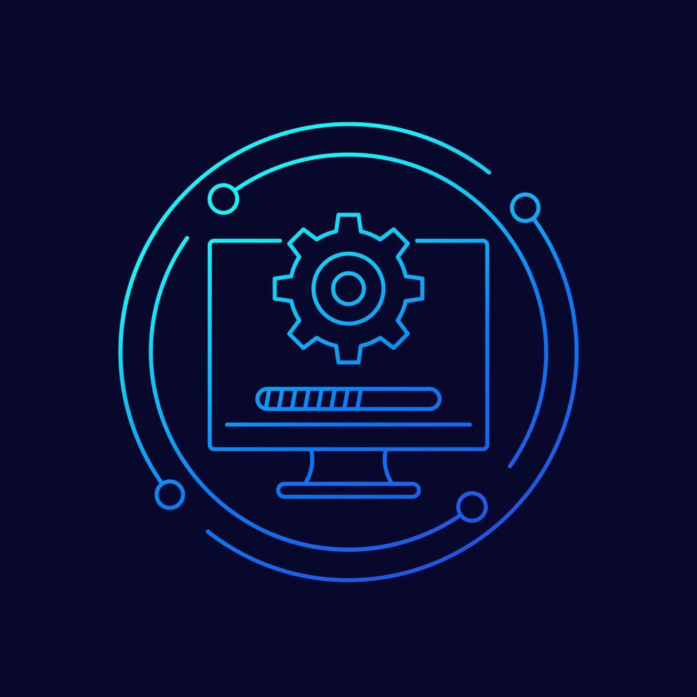mise à jour, icône de vecteur de ligne de logiciel