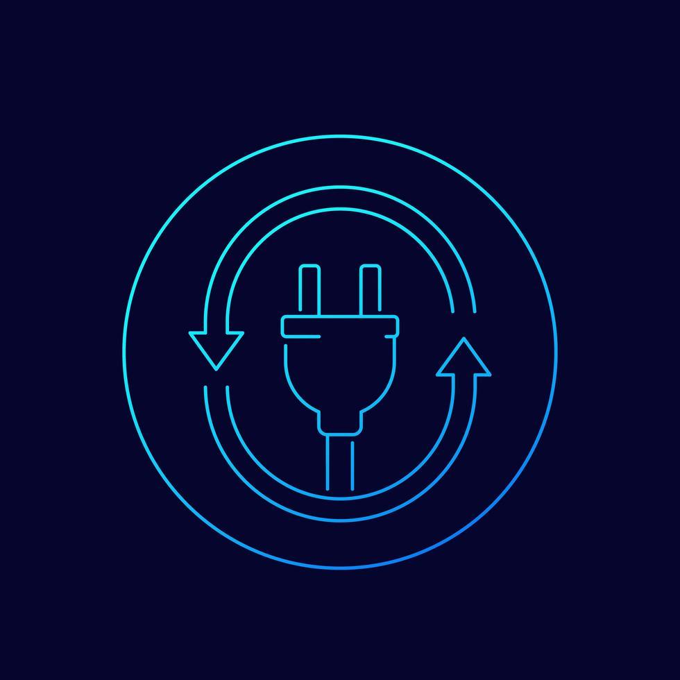 icône de prise électrique avec flèches, linéaire vecteur