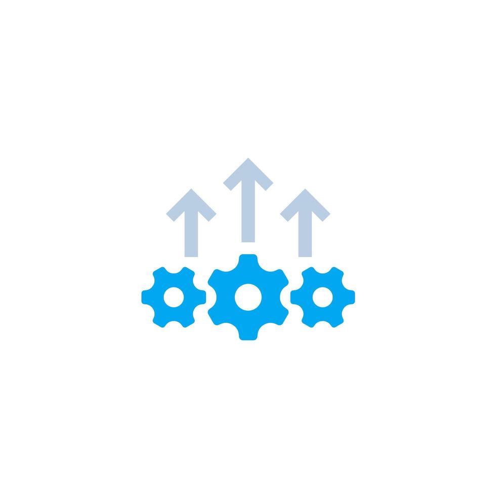 Excellence opérationnelle, icône de croissance de la production sur blanc vecteur