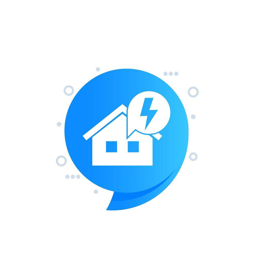 icône d & # 39; électricité avec maison, dessin vectoriel