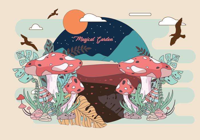 Illustration vectorielle de jardin magique vecteur