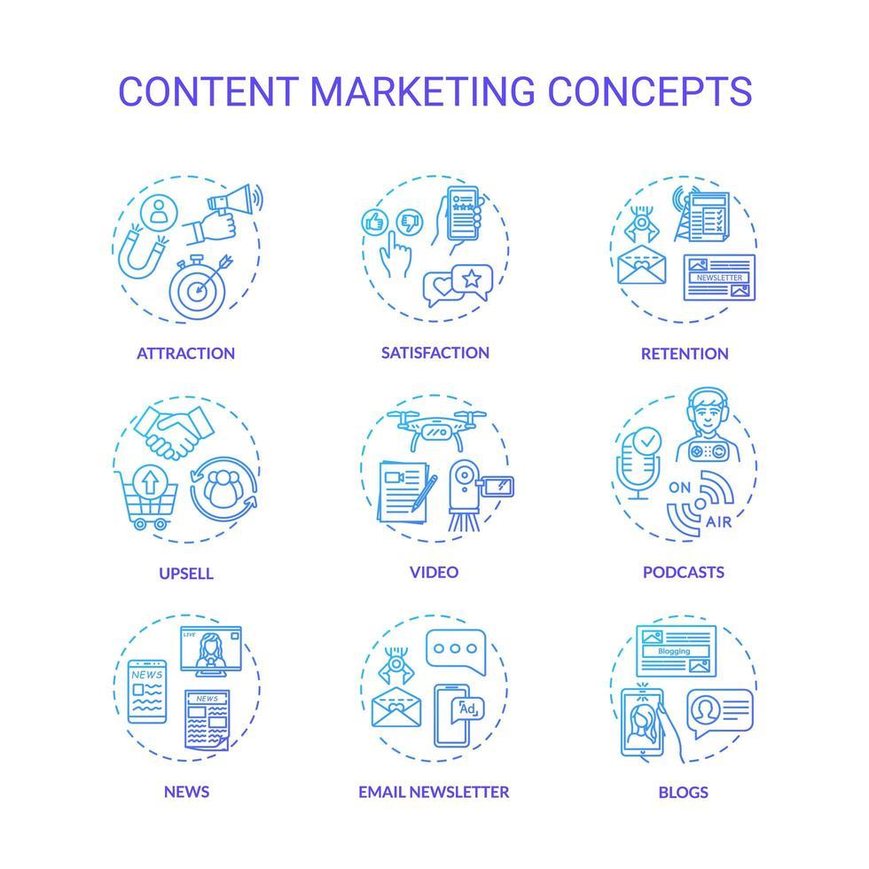 jeu d'icônes de concept marketing de contenu. vecteur