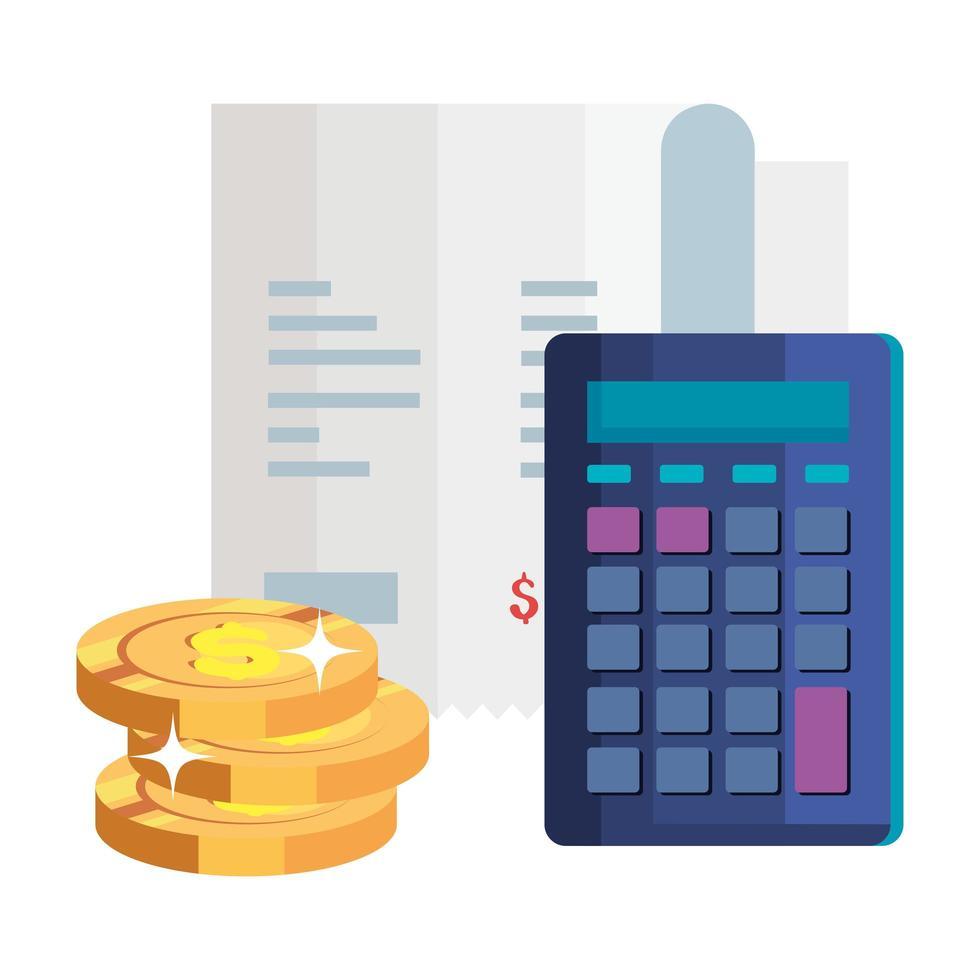 empiler des pièces avec calculatrice et papier bon vecteur