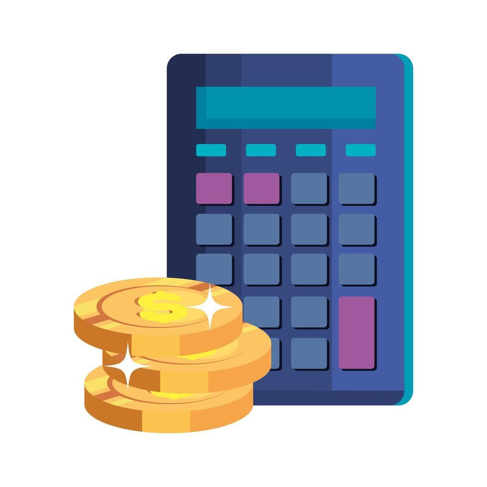 Pile de pièces d'argent comptant avec calculatrice vecteur