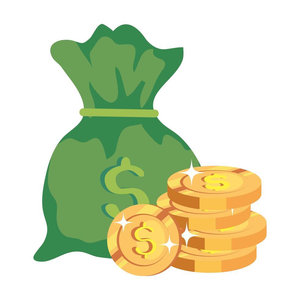 Pile de pièces avec icône isolé de sac d'argent vecteur