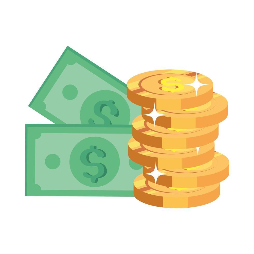 factures argent avec pile pièces icône isolé vecteur