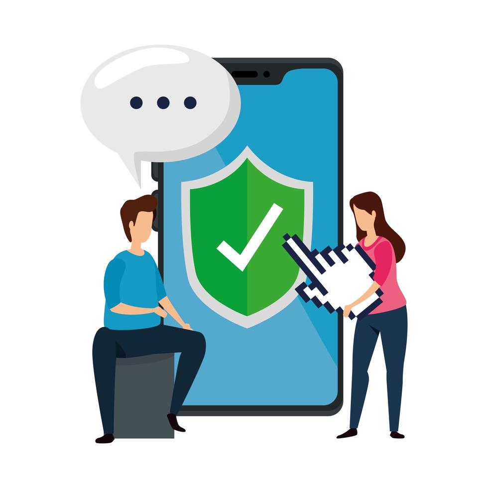 couple avec icône isolé de la technologie smartphone vecteur