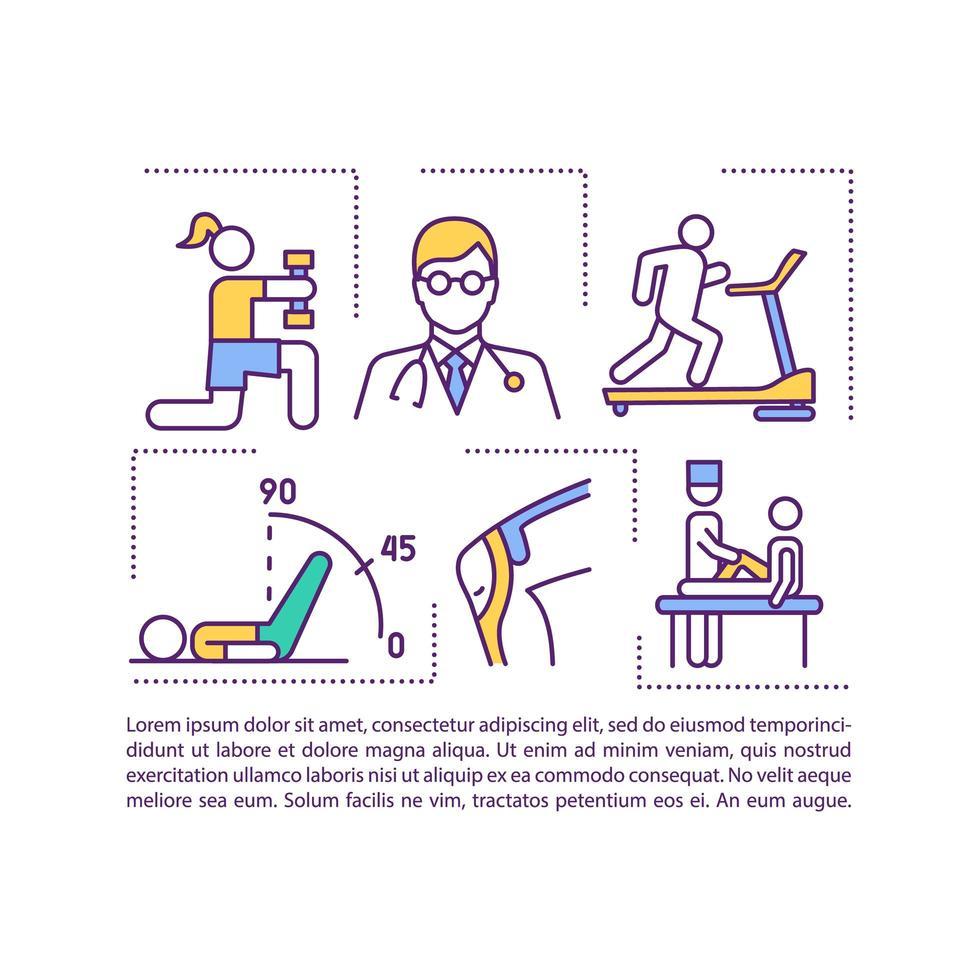 icône de concept de rééducation avec texte vecteur