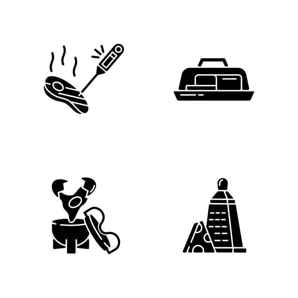 Icônes de glyphe noir appareil de cuisine sur espace blanc vecteur