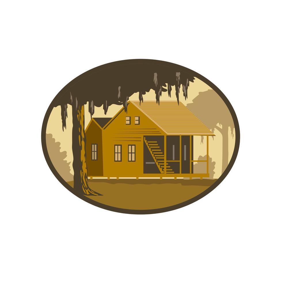 maison cajun et arbre ovale wpa rétro vecteur