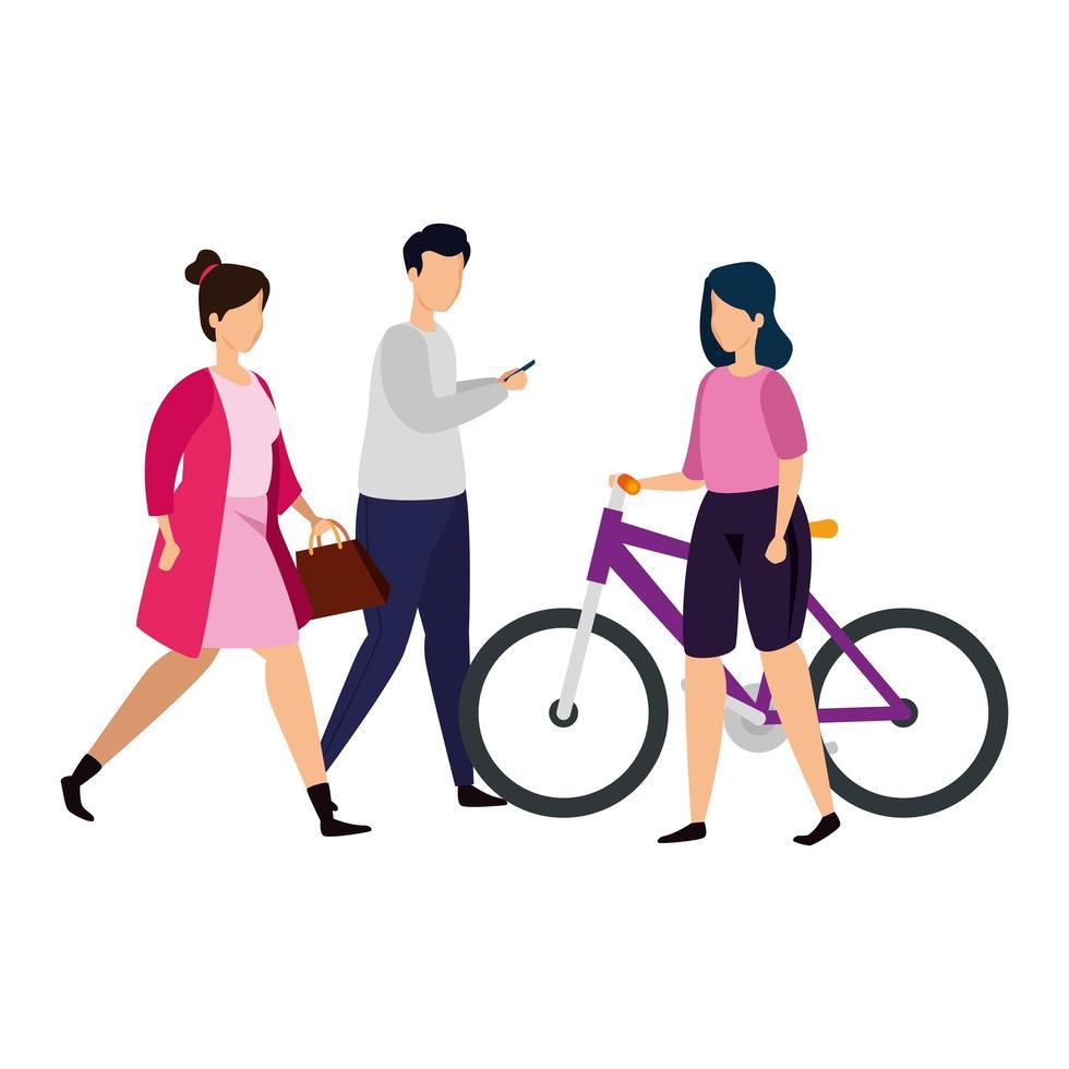 groupe de personnes avec des icônes isolées de vélo vecteur