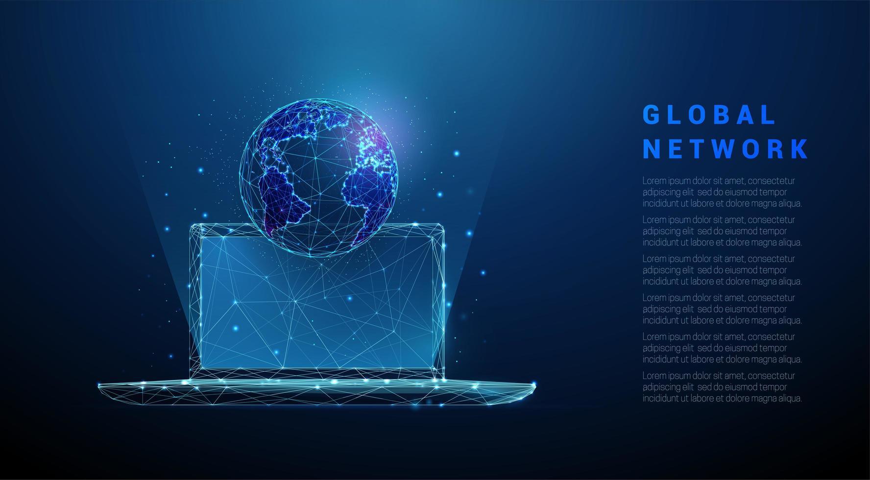 ordinateur portable abstrait low poly avec la planète terre. vecteur