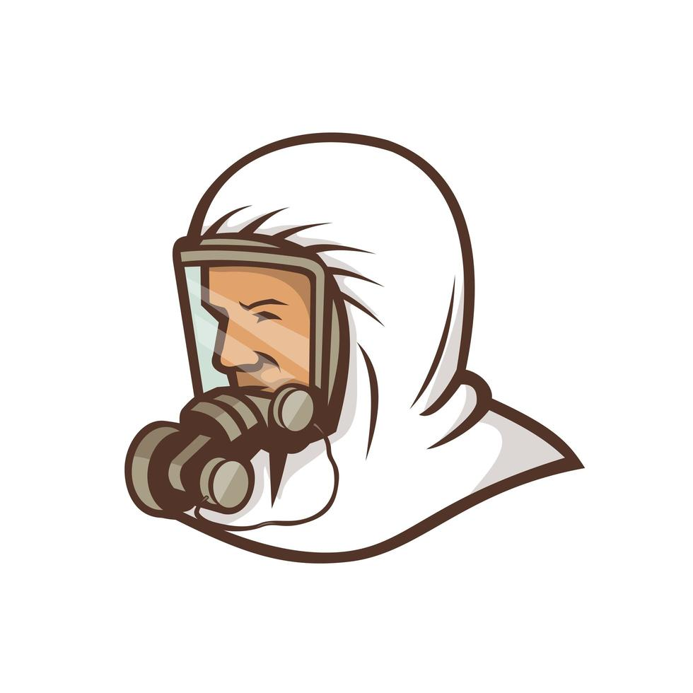 travailleur de la santé portant un masque facial mascotte vecteur