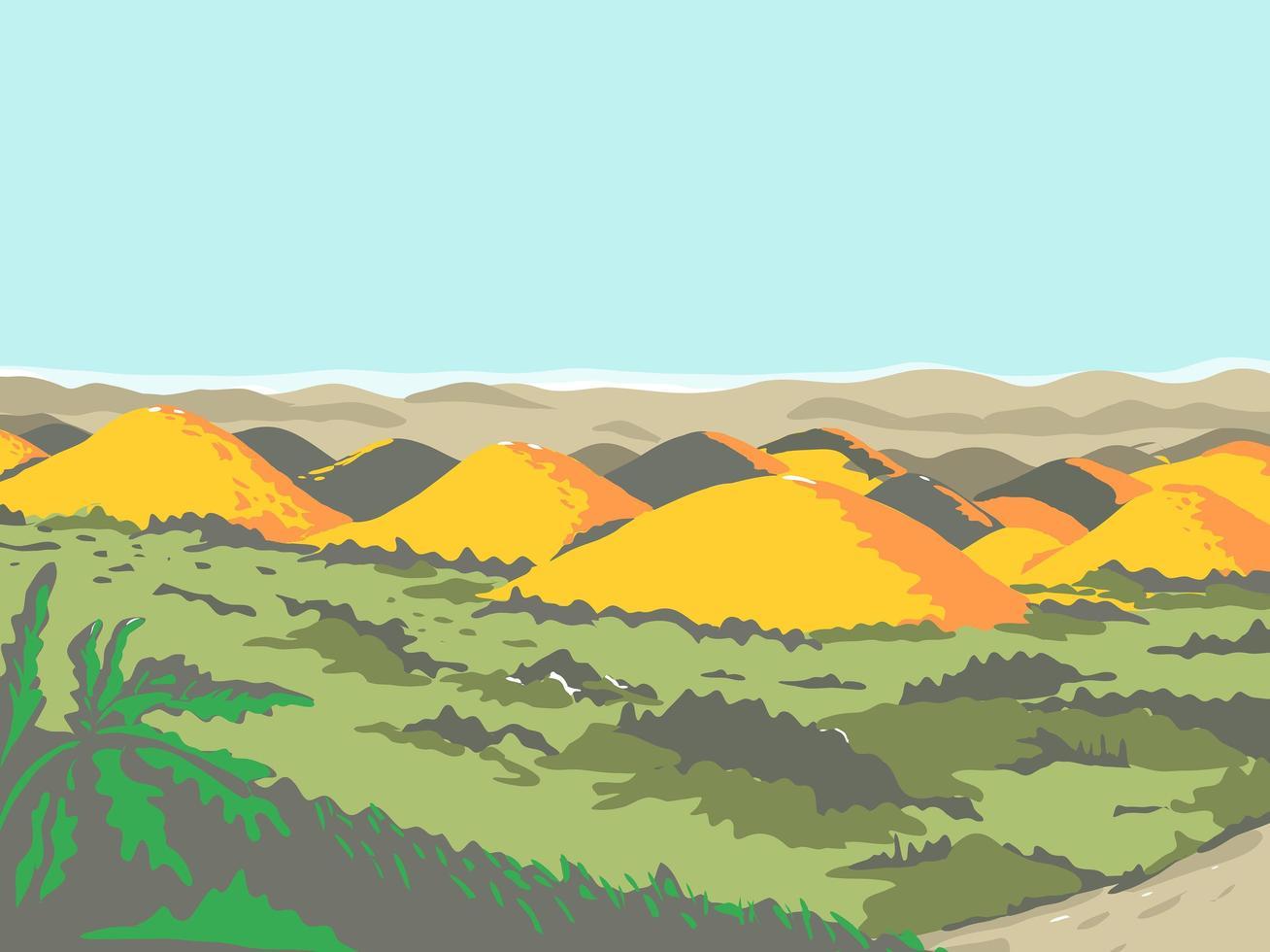 les collines de chocolat style rétro wpa vecteur